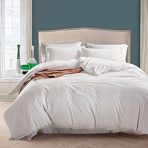 YOUSA Solid Color Boys and Girls Bedding Set Relaxed Soft Feel Natural Wrinkled Look Bed Set (Queen,Creamy White) (Natural Color Bedding)