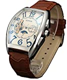 SEWOR Mens Automatic Business Dress Tonneau Moon Phase Wrist Watch Mechanical Self Wind (White)