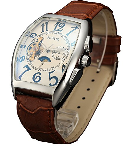 SEWOR Mens Automatic Business Dress Tonneau Shaped Moon Phase Wrist Watch Mechanical Self Wind (White-1)