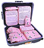 8 Set Travel organizers Packing Сubes Luggage Accessories Сlothes Shoes Bag (Pink bear)