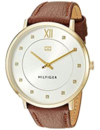 Tommy Hilfiger Women's 'Sophisticated Sport' Quartz Gold-Tone and Leather Casual Watch, Color:Red (Model: 1781809)
