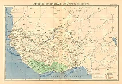 África Occidental Francesa Recursos. Afrique Occidentale Française ECONOMIQUE Old Antiguo Mapa Vintage – 1938 –