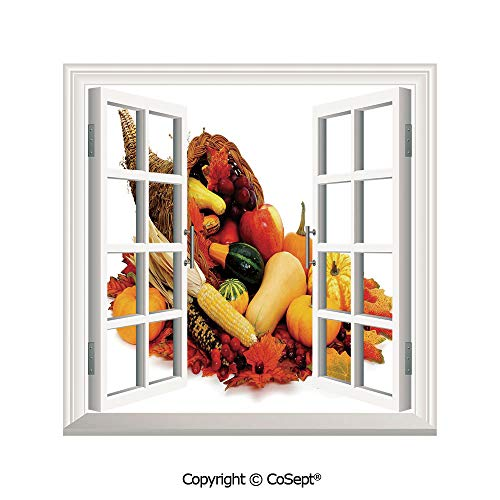 SCOXIXI Artificial Window Wall Applique Landscape Wall Decoration,Thanksgiving Photograph with Butternut Squash Pumpkin Corn Cornucopia Decorative,Window Decorative Decals Interior(25.86x22.63 inch)
