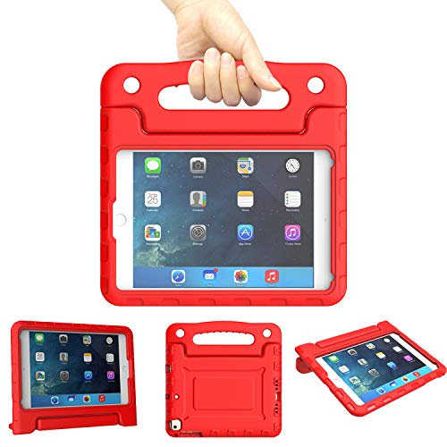 Kids Case for iPad Mini 1 2 3 4 5 Generation - Light Weight Shockproof Convertible Protection Cover with Built-in Handle Stand Children Tablet and 2019 - Retina Display (Red)
