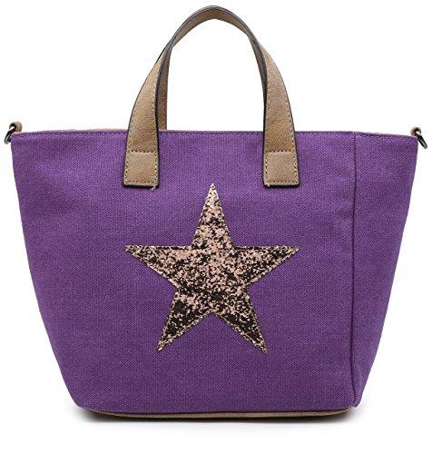 BHSL Canvas Fabric Fashion Trendy Designer Inspired Medium Size Glitter Star Top Handle Tote Shoulder Bag (Purple)