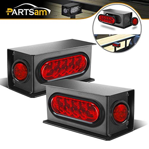 Partsam 2Pcs Steel Trailer RV Light Boxes Housing Kit w/ 6