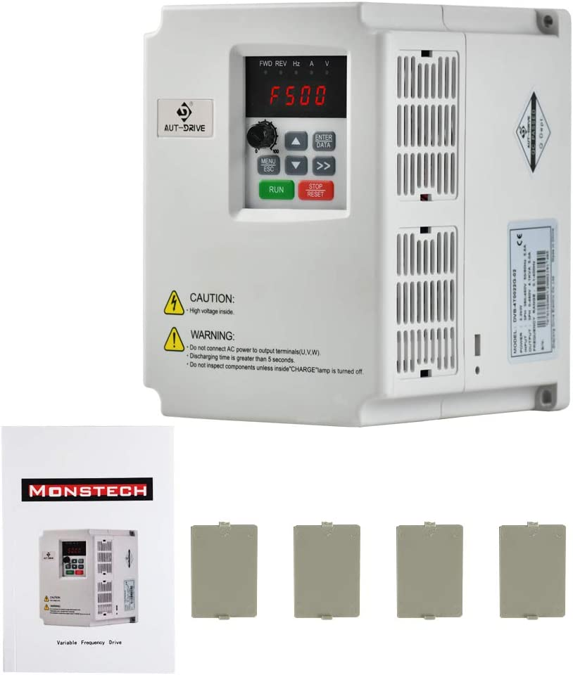 Monstech Variable Frequency Drive VFD AC 220V/380V (2.2) KW (3) HP Inverter Frequency Converter for Spindle Motor Speed Control (Single Phase Variable Speed Control Drive Single-phase Input)…
