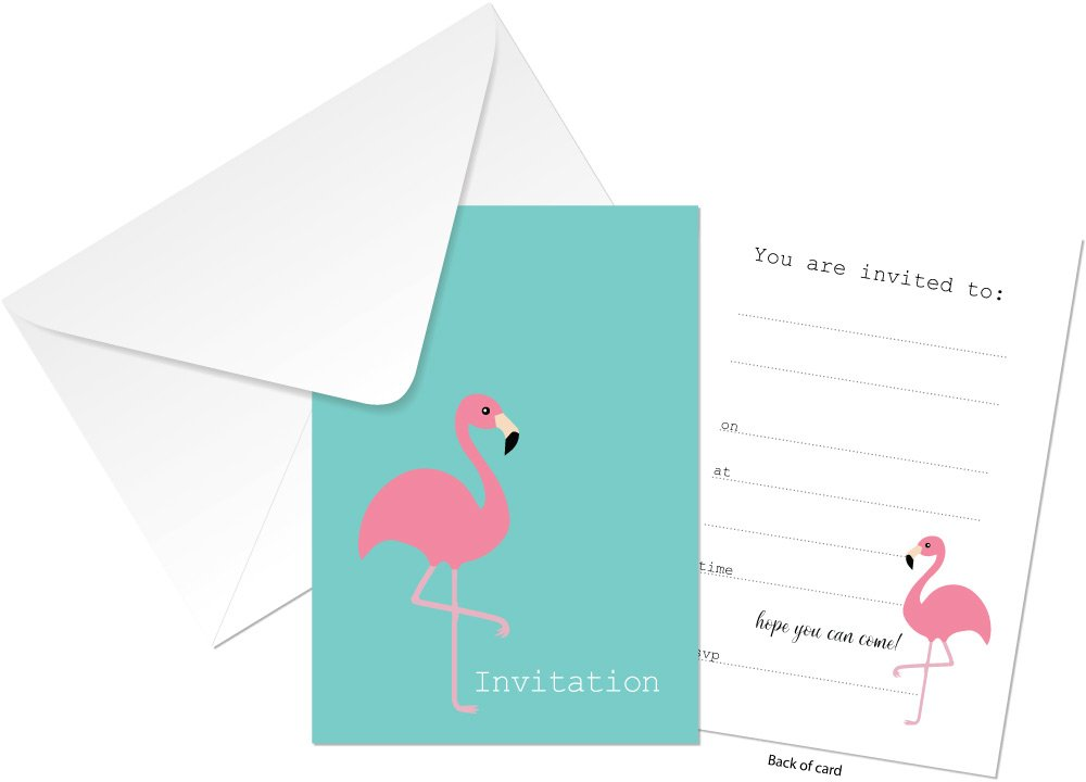 Invitation Cards Flamingo Design 24 X A6 Postcard Size Cards Suitable For Any Celebration 4 Colour To Choose From Teal