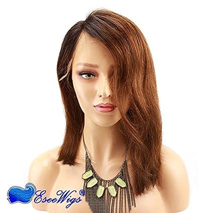 Eseewigs pelo humano peluca delantera del cordón negro raíz # 30 Ombre color parte libre nuevo