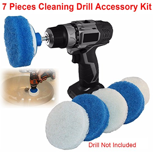 Jeteven 4 Inch Nylon Scrub Pads Cleaning Drill Kit with Posting Backing Pad for RotoScrub White+Blue 7 Pieces