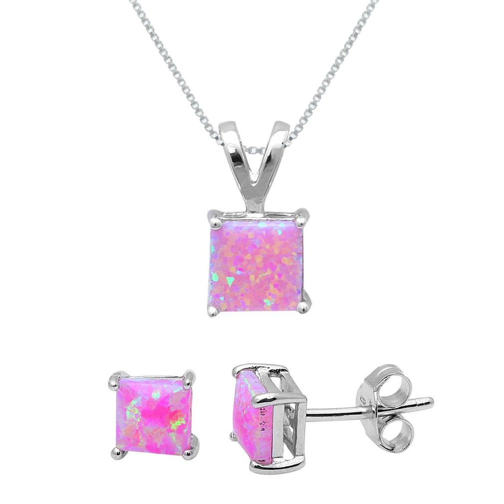 Sterling Silver Square Cut Pink Lab Opal Necklace and Earrings Set-18IN