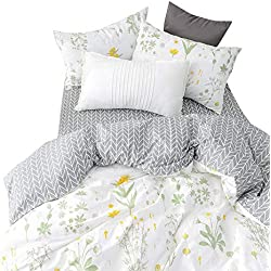 BuLuTu Twin Floral Bedding Cover Sets White for Girls,Reversible Arrow Grey Nature Garden Flower Twin Duvet Cover Set White Zipper Closure Soft Comforter Cover,NO Comforter