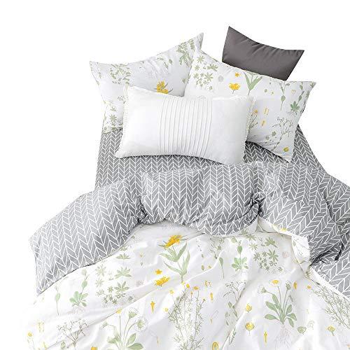 BuLuTu Twin Floral Bedding Cover Sets White for Girls,Reversible Arrow Grey Nature Garden Flower Twin Duvet Cover Set White Zipper Closure Soft Comforter Cover,NO Comforter