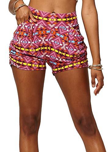 (Premium Ultra Soft Harem High Waisted Shorts for Women with Pockets - Desert Sun - Small/Medium (0-10) - NHS-J065-SM )