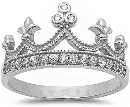 Sterling Silver Round Cubic Zirconia Crown Ring Sizes 4-12 Three Colors Available
