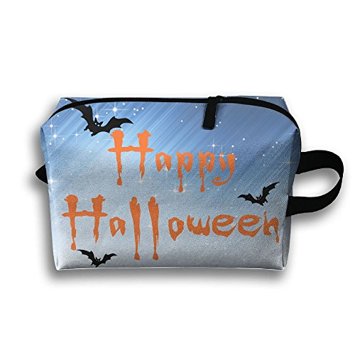 Happy Halloween Bats Travel Makeup Bag Customize 3D Printing Women's Multifunction Case (Simple Halloween Makeup Ideas For Women)