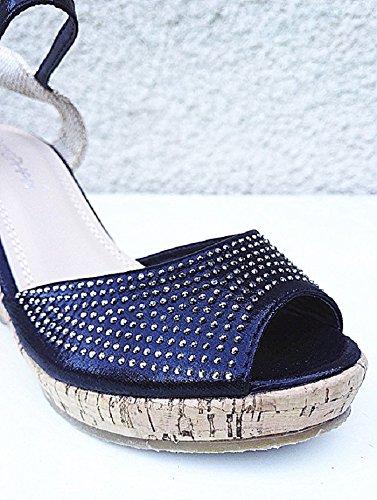 Compensées 36 Femme Noir Mode WL Talon 96 Sandales Chaussure 41 Escarpins Couleur OX56qwP