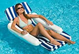 "50"" Blue and White Sunchaser Swimming Pool Floating Cushion Lounge Chair"