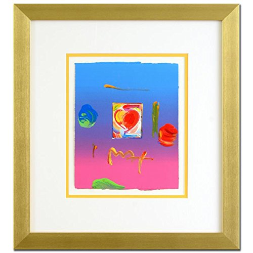 PETER MAX ORIGINAL Signed mixed media ACRYLIC PAINTING HEART FRAMED COA (Peter Max Painting)