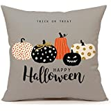 "4TH Emotion Halloween Pumpkin Throw Pillow Cover Cushion Case Sofa Couch 18"" x 18"" Inch Cotton Linen(Trick Treat)"