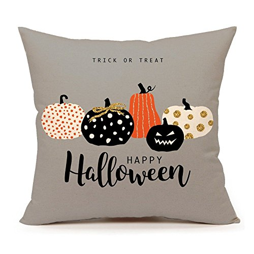 (4TH Emotion Halloween Pumpkin Throw Pillow Cover Cushion Case for Sofa Couch 18