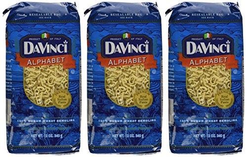 Da Vinci Alphabet Pasta, 12 oz, 3 pk