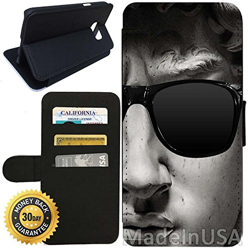 Flip Wallet Case for Galaxy S7 (David With Sunglasses) with Adjustable Stand and 3 Card Holders | Shock Protection | Lightweight | Includes Stylus Pen by - Sunglasses Coach Ebay