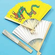 Baker Ross Abanico de Papel Para Decorar (paquete de 4) para que los niños pinten, decoren y personalicen para actividades de manualidades