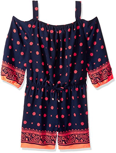 My Michelle Big Girls' Printed Cold Shoulder Romper, Navy, S (Michelle My Clothes)
