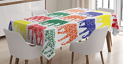Price comparison product image Elephants Decor Tablecloth by Ambesonne, Colorful Elephants in Patterns in a Row National Folklore Spiritual Yoga, Dining Room Kitchen Rectangular Table Cover, 60 X 84 Inches