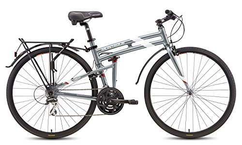 Cheap Montague Urban Folding 700c Pavement Hybrid Bike 21-Speed Bike with 35mm Tires and a Rear Rack – Smoke Silver 17″ Frame