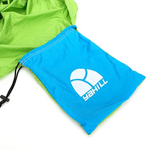 Yahill® Extra Size Durable Portable Camping Hammock, Parachute Nylon Fabric, Comfortable, For Camping, Travel, Backpacking, Beach, Garden (Green/Blue, Double(10.5'X6.5′))
