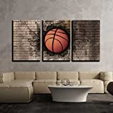 wall26 - 3 Piece Canvas Wall Art - 3d Rendering of a Basket Ball Embedded in a Brick Wall - Modern Home Decor Stretched and Framed Ready to Hang - 16'x24'x3 Panels