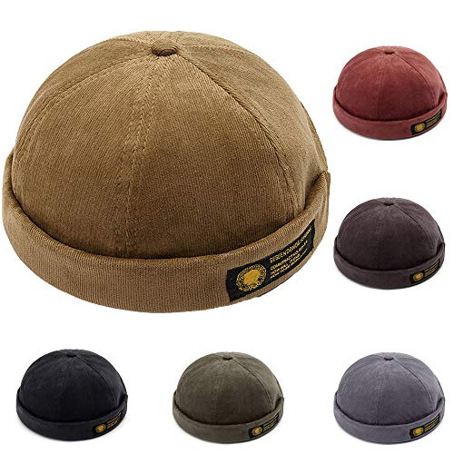 Men Hats Docker Cap Hats Sailor Cap Worker Hat Rolled Cuff Retro Brimless Hat with Adjustable (7019-Khaki) -