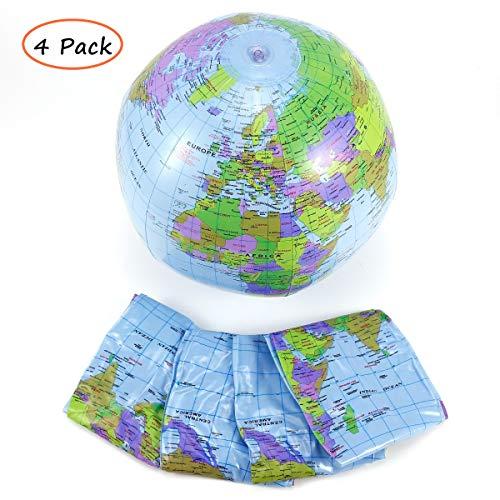 ROMIRUS 4 Pack Inflatable Political Blue Globe, 16