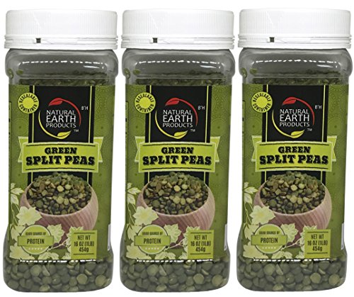 Natural Earth Green Split Peas - Certified Kosher- Good Source Of Protein - Resealable Container - 16 Oz (Pack of 3) by Natural Earth