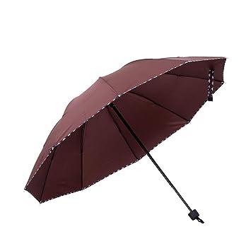 AHHYH Paraguas Rainy Plegable Compacto para Viajes, Paraguas para Hombres y Mujeres, café