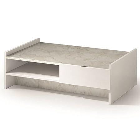 Inside Couchtisch Design Marvel Weiße Tablett Aus Marmor Beleuchtung