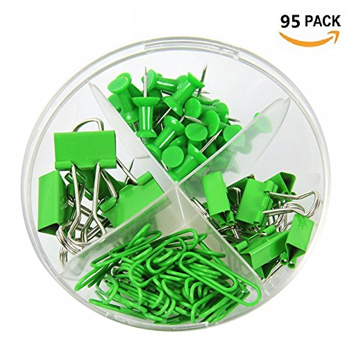 Desk Set Binder - Paper Clip Holder, Paper Binder Clips Push Pins Clip Combination Set, Inclined Plane, Multifunctional Small Stationery Office Supplies (Green)