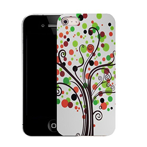 Mobile Case Mate IPhone 5S clip on Silicone Coque couverture case cover Pare-chocs + STYLET - green hippie tree pattern (SILICON)