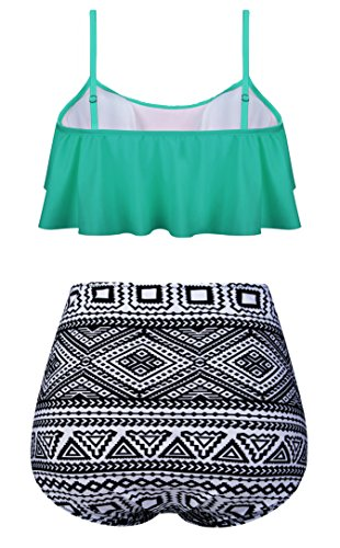 0944492276 Angerella Swimsuits For Women Ruffled Top Swimwear High Waisted Bikini,  Green Mint, US 4