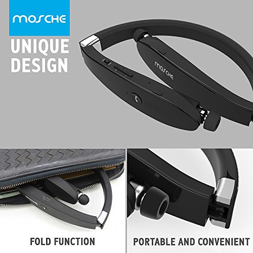 Bluetooth Headset, MOSCHE Bluetooth 4.1 Wireless Stereo Headphones Headsets Neckband with Retractable Bluetooth Earbuds with Mic for Iphone and Android Cell phone(Black)