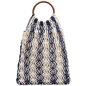 TOOGOO Hollow Woven Bag New Woven Handbag Large Capacity Beach Vacation Blue
