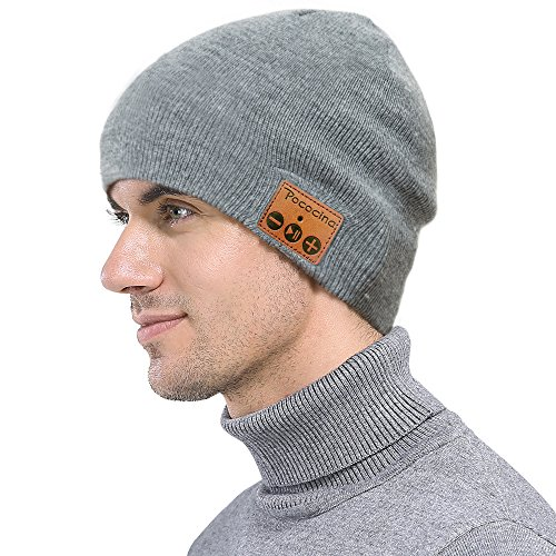 Price comparison product image Wireless Bluetooth Beanie, Ranger5 Smart Music Knit Winter Hat with Speaker Mic for Fitness Outdoor Sports,Christmas Gifts, Light Grey