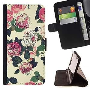 - Queen Pattern FOR HTC One M9 /La identificaci????n del cr????dito ranuras para tarjetas tir????n de la caja Cartera de cuero cubie - begonia floral rustic vintage wallpaper -