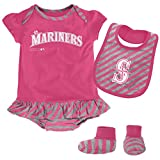 MLB  Seattle Mariners Infant Girls Pink Bib & Booty-12 Months