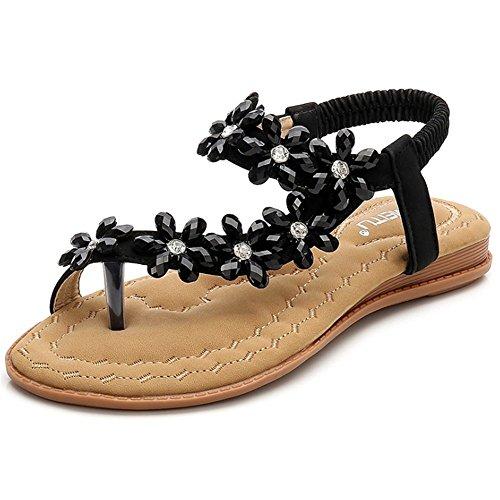 Playa De La Dulce Negro Las Sandalias De Sandalias Flor Zapatos De De Zapatos Mujeres Planas Boho Flor Granos La zqTIRTw