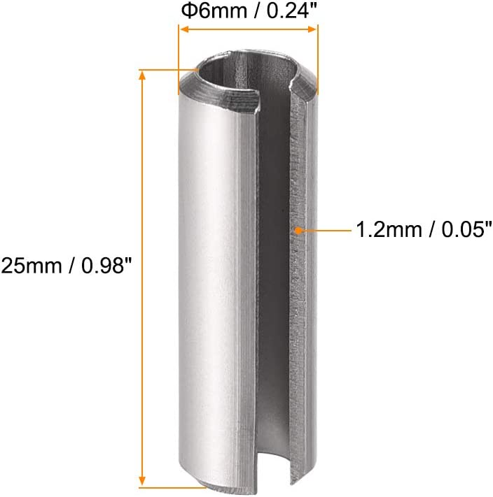 uxcell Slotted Spring Pin M1.5 x 12mm 304 Stainless Steel Split Spring Roll Dowel Pins Plain Finish 20Pcs