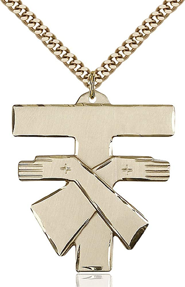 14kt Gold Filled Franciscan Cross Pendant Gold Plate Heavy Curb Chain Patron Saint 1 3//8 x 1 1//4
