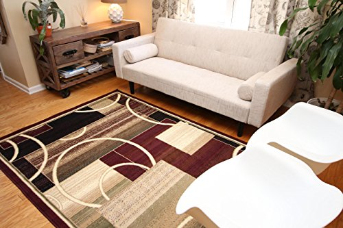Generations-Brand-New-Contemporary-Reds-Burgundy-Modern-Square-and-Circles-Area-Rug